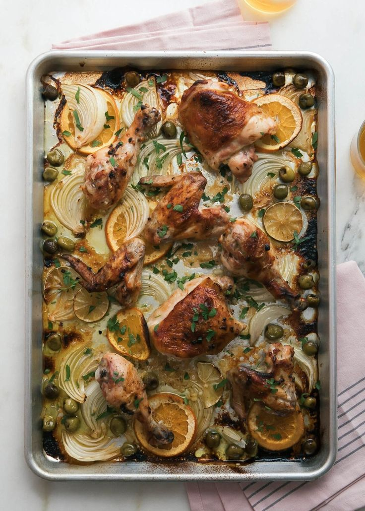 This recipe for sheet pan orange-garlic chicken is a weeknight win for dinnertime. The secret to this delicious chicken dish is its Cuban mojo sauce that has just the right amount of garlic and orange juice to marinate the chicken in. To make this weeknight meal, you'll need garlic cloves, salt, olive oil, lime and orange juice.