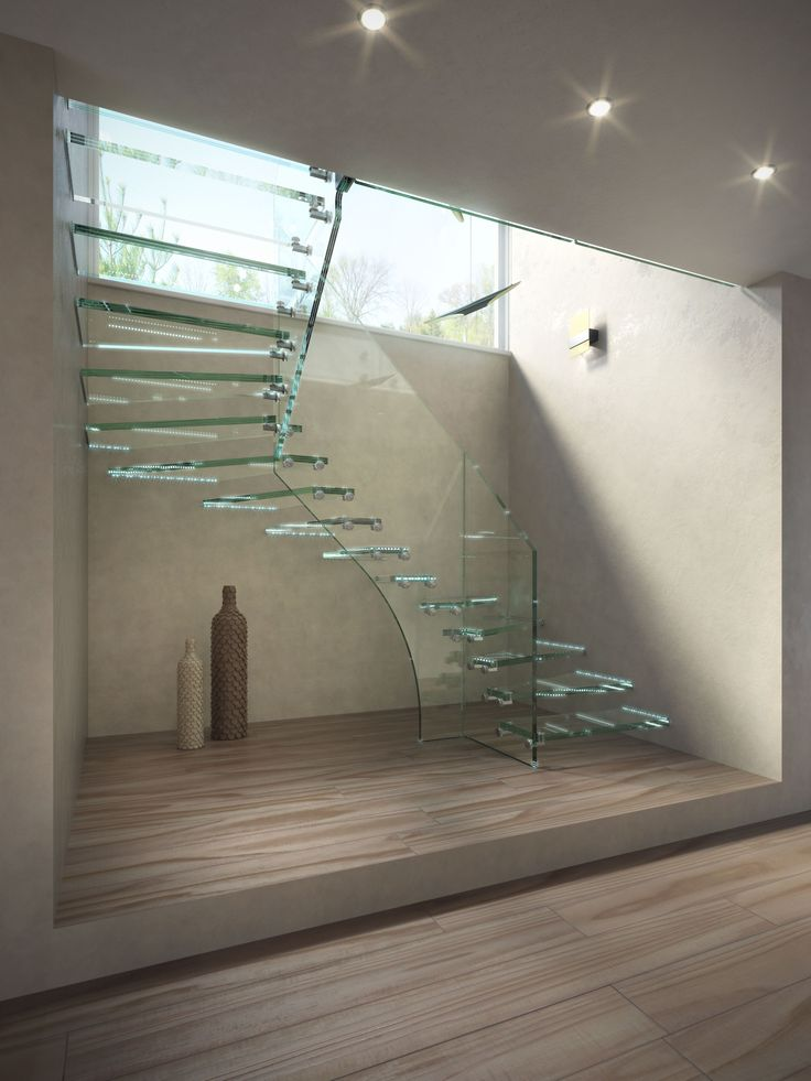 All glass staircase for small space. Simply stunning http://www.stairs-siller.com/glass-stairs/