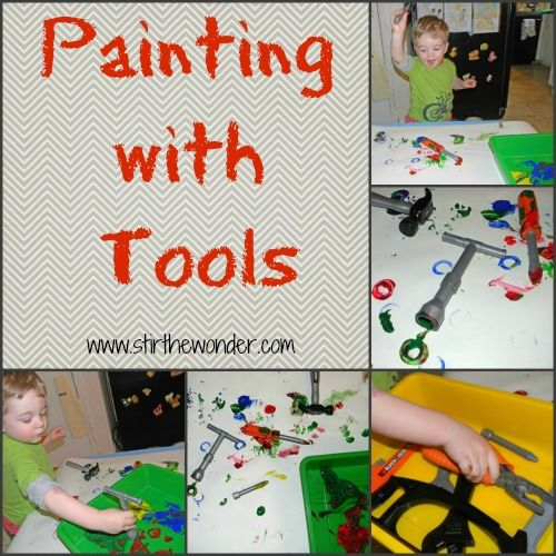 "Stir the Wonder...painting with tools!  This may get us out of our ""painting with trucks"" rut!"