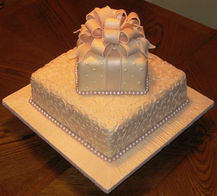 Tier Bridal Shower Cake All Fondant Including Tiny Pearl Edging On