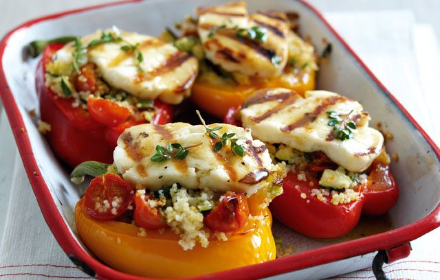 Greek Haloumi Peppers with Greek Honey