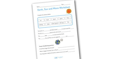 Preview: Earth Sun and Moon Worksheets