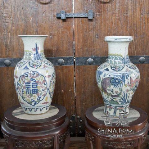 """Китайские вазы, парные """"Благословение & Достаток"""" - цена за шт."""