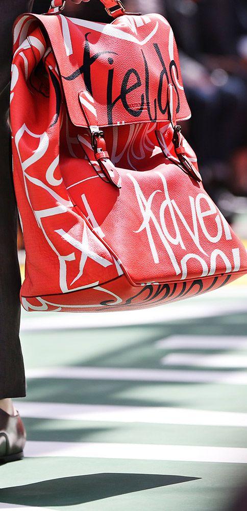 The S/S15 men's runway - typographic prints on the Burberry travel satchel