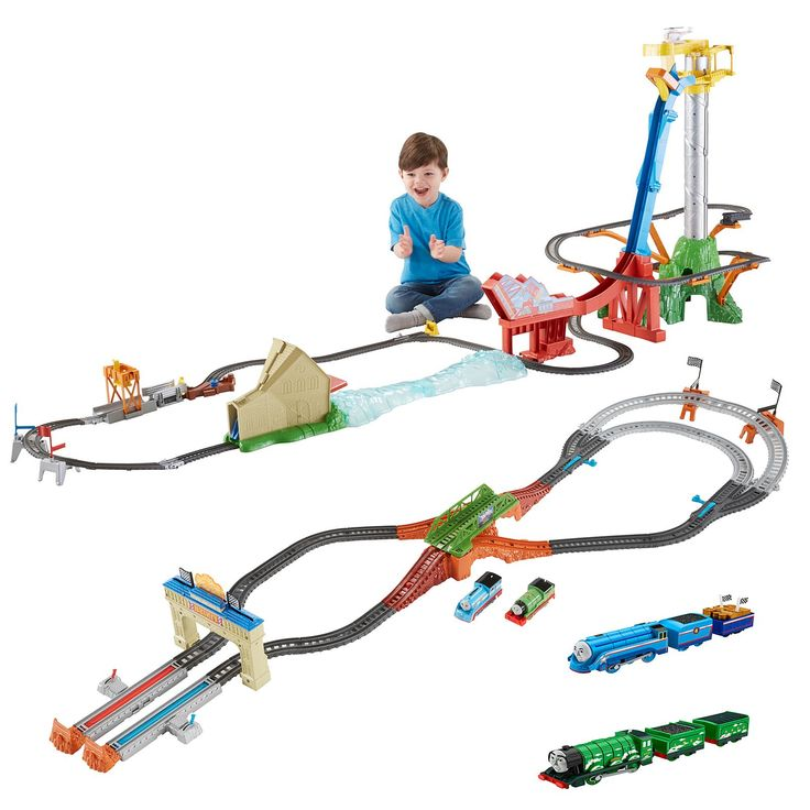 THOMAS & FRIENDS TRACKMASTERS THOMAS' AIR SPECTACULAR SET: Complete Thomas & Friends™ train set includes motorized Thomas train, Harold the helicopter, cargo hopper, cargo piece, and full track layout with ramp and bridge jump. Harold can detach from the set to be played with as a separate piece Dimensions approx. 36.4 inches (0,92 meters) tall, 105 inches (2,67 meters) long, and 28 inches (0,71) wide. CAD $199.99 now at Toys and Stuff