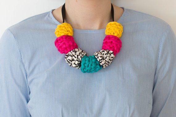Multicoloured Crochet Ring Necklace on Grosgrain Ribbon