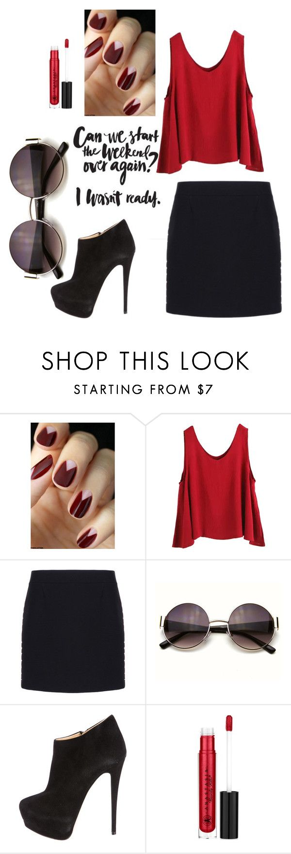 """Untitled #1"" by kiajeje ❤ liked on Polyvore featuring WithChic, Balenciaga, Giuseppe Zanotti and Anastasia Beverly Hills"