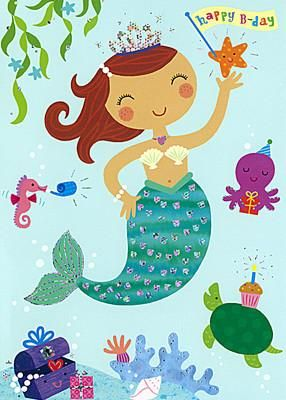 Greeting Card Papyrus: Happy Birthday Mermaid