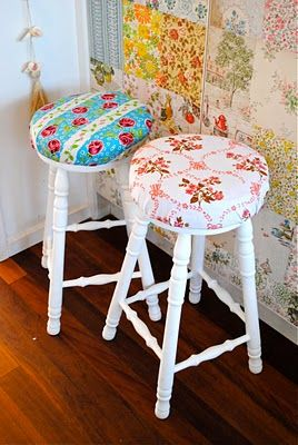 Cottage Stool Makeover.  I would use a softer calico for the seat.  Also, I would probably paint the raised rounds on the legs a very pale color to match the calico.  Also, on the rungs around the bottom of the stool--just the raised bumps.