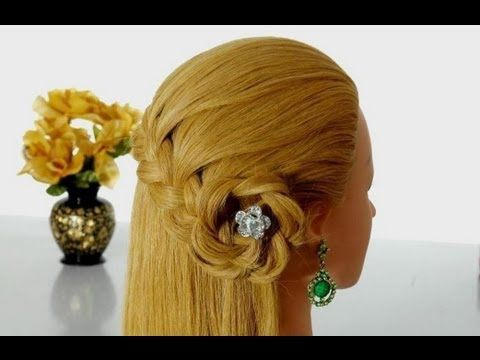 Romantic hairstyle for long hair with braided flower. Hairstyles for eve...
