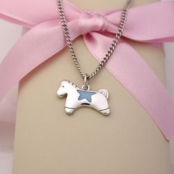 "<strong>Baby Jewelry</strong> - Silver Horse Pendant Baby Necklace (Blue), 13"" 1"" Extension"