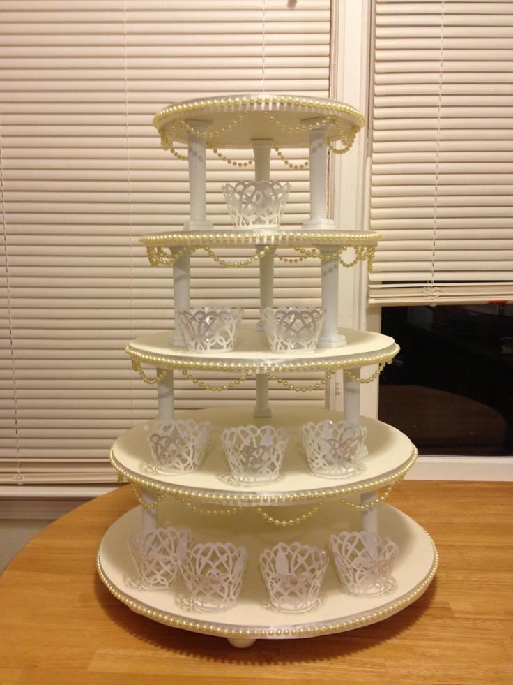 Diy cupcake tower i made cardboard cake bases sized 18