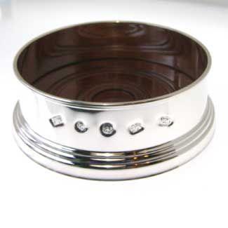Silver Wine Coaster with Feature Hallmark 90mm