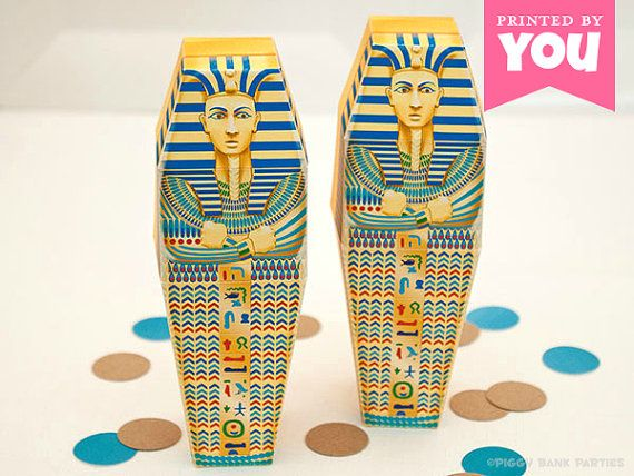 Egyptian Sarcophagus Favor Box  DIY Printable by PiggyBankParties, $9.00 Love the look on their faces!