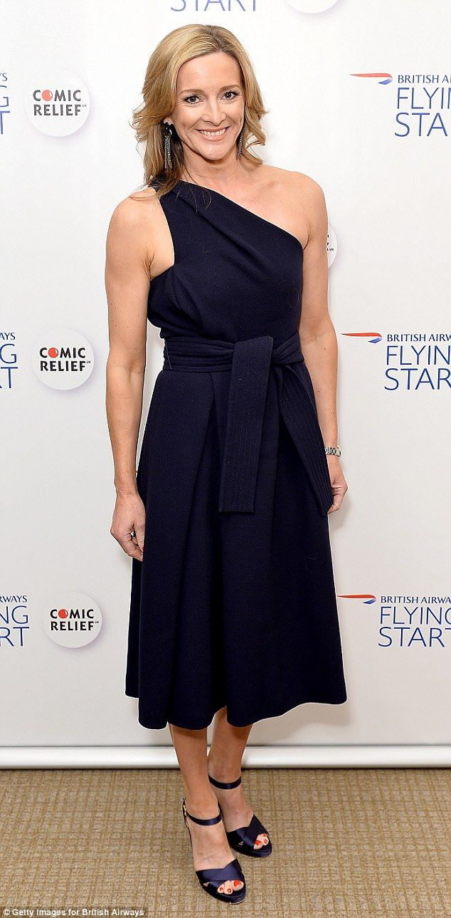 Fighting fit: Gabby Logan showed off her toned figure in a navy one-shoulder frock as she attended the British Airways' Flying Start Ball in Hertfordshire on Friday