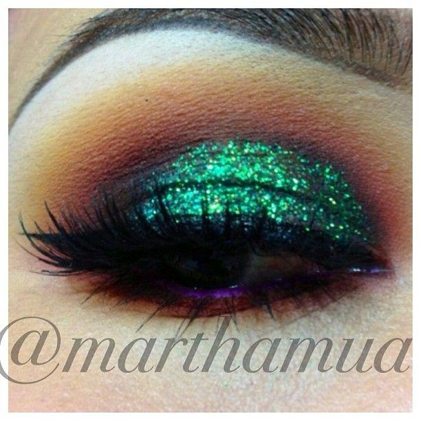 Green glitter eyeshadow