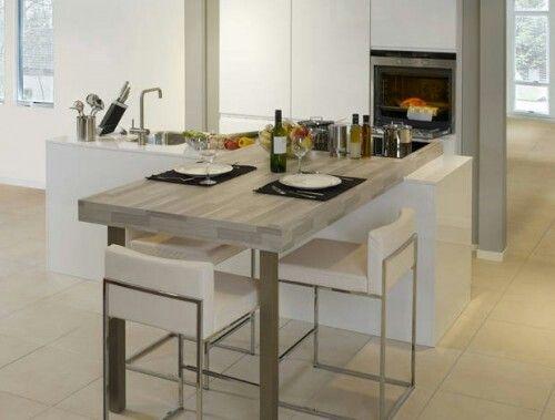 Keuken met eiland en eetgedeelte home pinterest met - Ingerichte keuken met geintegreerde tafel ...