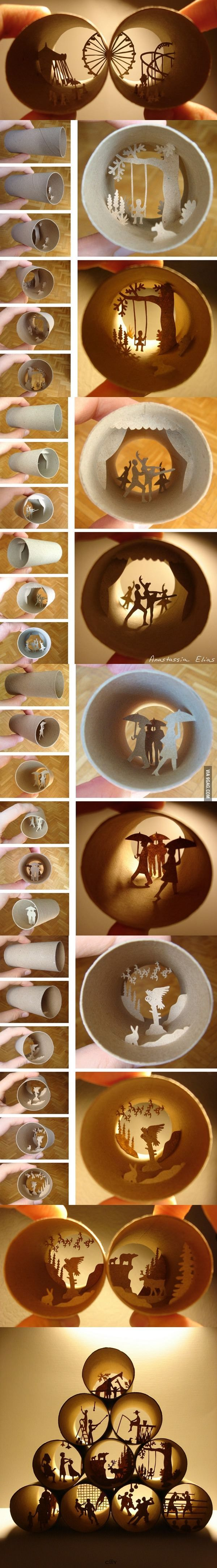 Toilet paper roll art by Anastassia Elias.. Marvellous!!                                                                                                                                                                                 More