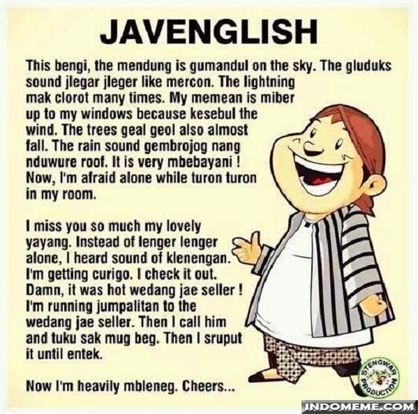 Perpaduan Bahasa Jawa dan Inggris - #GambarLucu #MemeLucu - http://www.indomeme.com/meme/perpaduan-bahasa-jawa-dan-inggris/