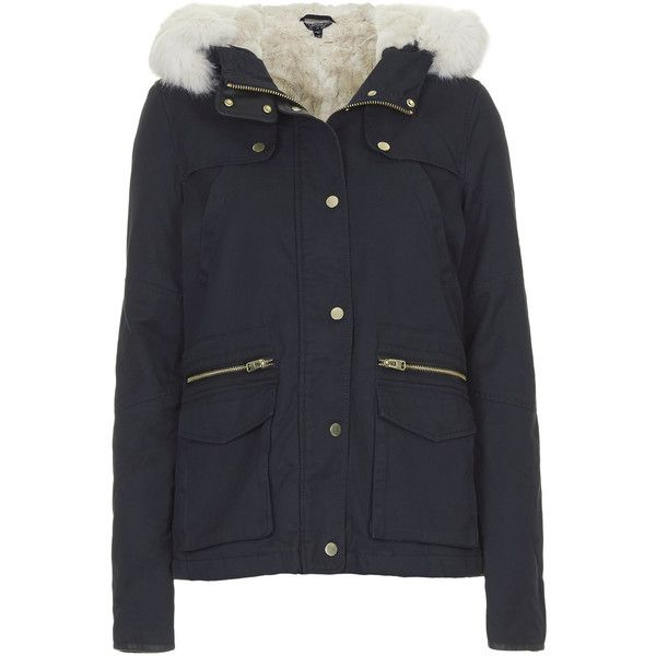TOPSHOP Faux Fur Lined Short Parka Jacket ($57) ❤ liked on Polyvore featuring outerwear, jackets, topshop, coats, tops, navy blue, navy parka, topshop parka, navy parka jacket e parka jacket