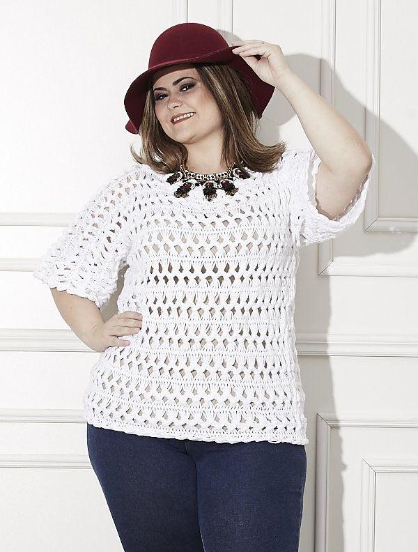 Receitas Círculo - Plus Size - Blusa Crochê de Grampo