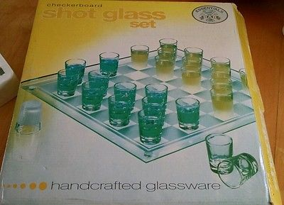 Glass Checkers Set 26 Shot Glass Bar & Drinking Board Game College Game NEW