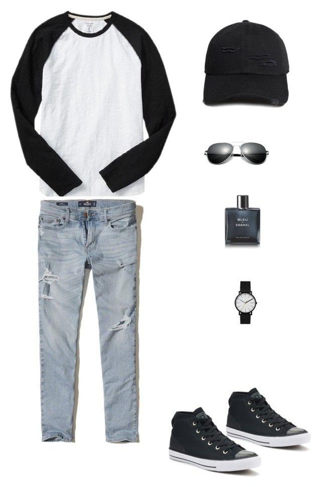 """simpl"" by christina-rasl on Polyvore featuring Gap, Hollister Co., Converse, Skagen, Chanel, 21 Men, men's fashion et menswear"