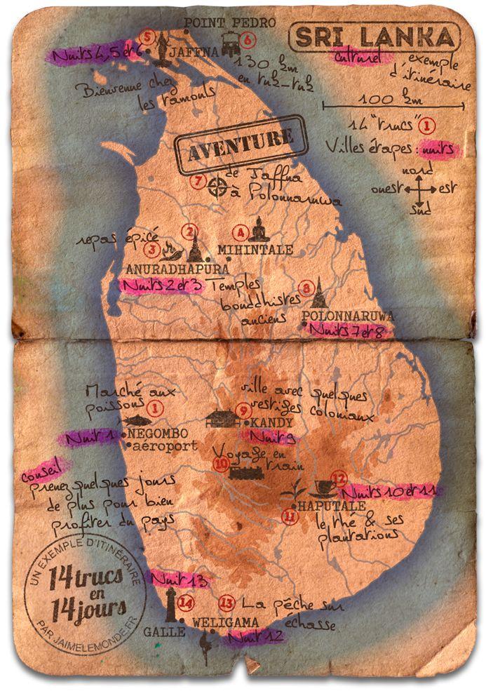 14 jours au sri lanka - carte itinéraire