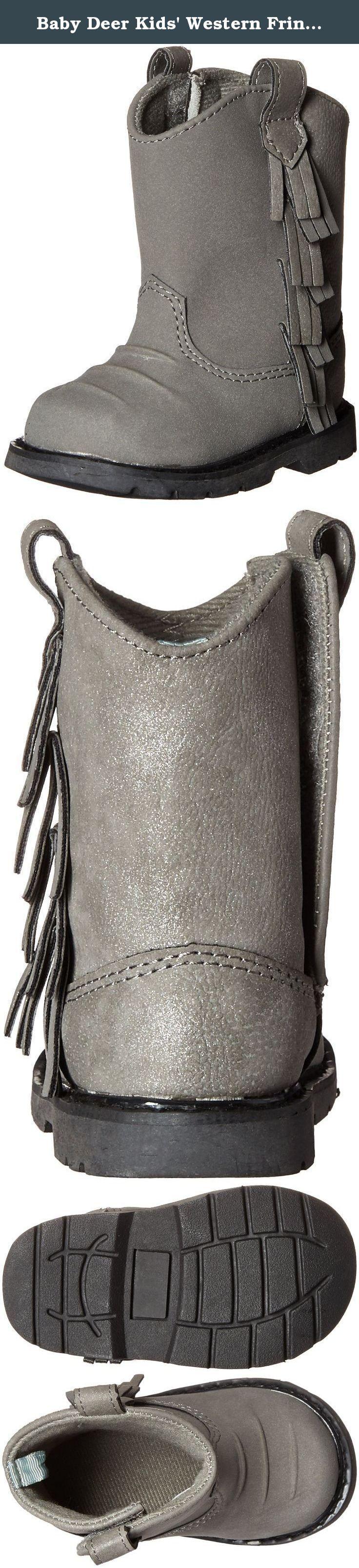 Baby Deer Kids' Western Fringe Boot, Black, 5 M US Toddler. Western boot with fringe.