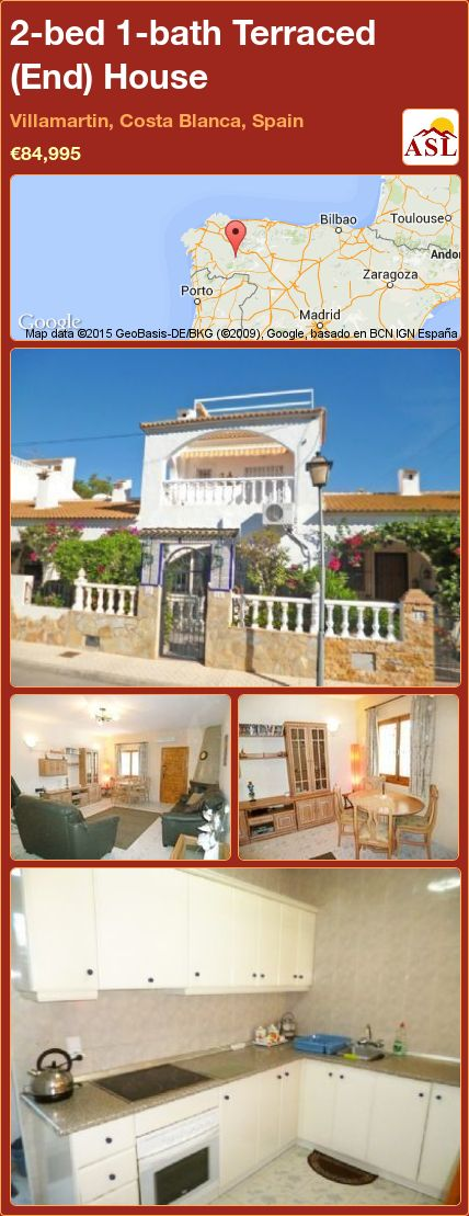 2-bed 1-bath Terraced (End) House in Villamartin, Costa Blanca, Spain ►€84,995 #PropertyForSaleInSpain