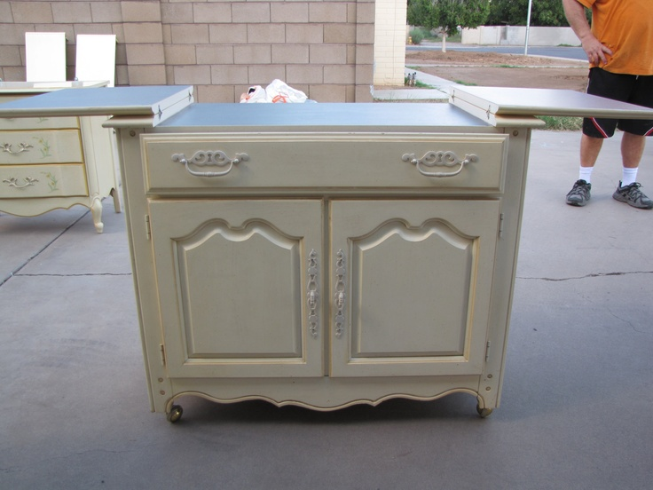 French Provincial Buffet Cart on casters. ($150) Painted