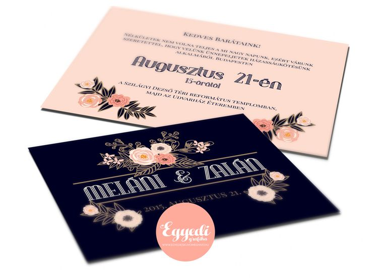 Vintage virágos esküvői meghívó   Vintage floral peach and dark blue wedding invitation