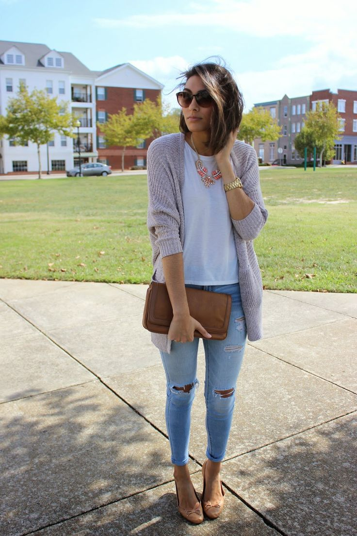 Shop this look on Lookastic:  http://lookastic.com/women/looks/clutch-and-skinny-jeans-and-ballerina-shoes-and-open-cardigan-and-pearl-necklace-and-crew-neck-t-shirt-and-sunglasses/4167  — Brown Leather Clutch  — Light Blue Ripped Skinny Jeans  — Brown Leather Ballerina Shoes  — Grey Open Cardigan  — Pink Pearl Necklace  — White Crew-neck T-shirt  — Dark Brown Sunglasses