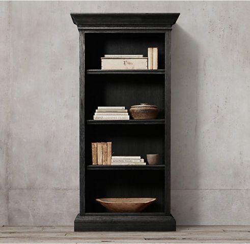 Restoration Hardware Black Oak Shelf Bookcase Bookcases