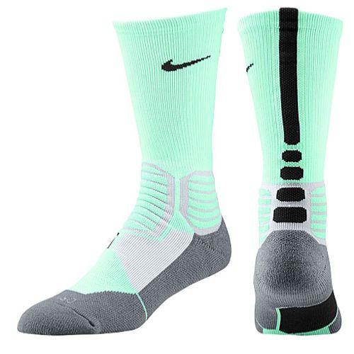 Nike Hyper Elite Basketball Crew Socks - Men's - Basketball - Accessories - Green Glow/Wolf Grey/Black