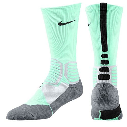 Nike Hyper Elite Basketball Crew Socks - Men's - Basketball - Accessories - Green Glow/Wolf Grey/Black