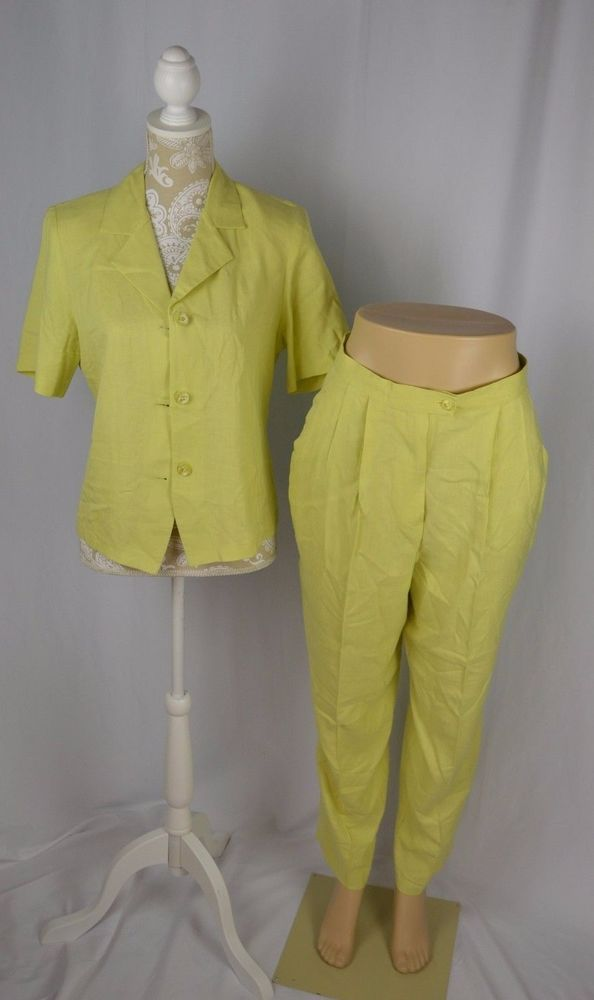 Laura Scott Womens 10 Pastel Yellow Green Short Sleeve Pleated Pant Suit Set 2pc  | eBay