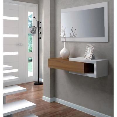 NOON Console d'entrée style contemporain blanc - L 95 cm