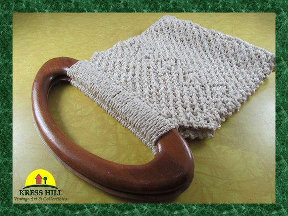 Retro Macrame Rope Weave Cream Coloured Hand by KressHillVintage