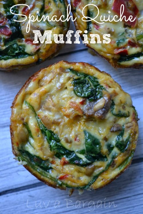 Looking for a quick, healthy breakfast?  Make these Spinach Quiche Muffins ahead of time and just pop them in the microwave in the morning.