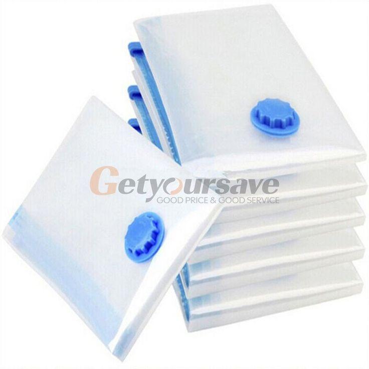 5 Size Vacuum Bag Transparent Border Foldable Compressed Organizer Storage Bag Saving Space Seal Bags