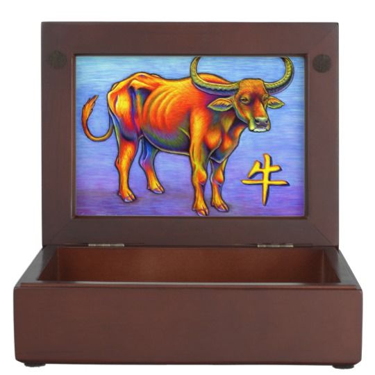 "Year of the Ox colorful keepsake box by Rebecca Wang on Zazzle.  These beautiful keepsake boxes are made from mahogany-colored wood and the interior is lined with black velvet fabric.  The design is printed in full color on both sides of the lid.  Measures 6.5"" x 8.5"" x 2.75"".  Perfect for jewelry, watches, photos or other trinkets!"