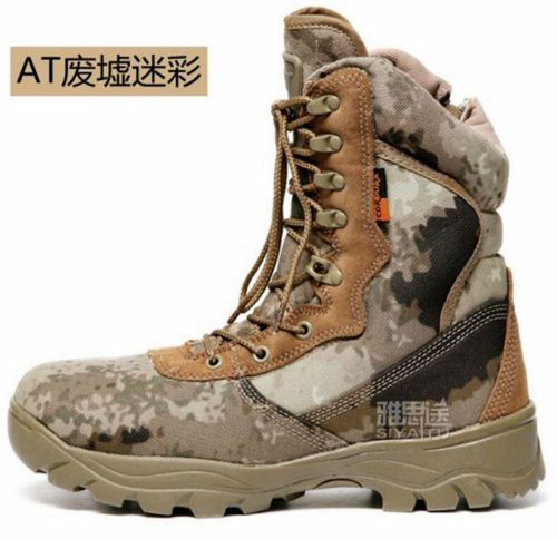 Mens Military Desert Boots Side Zipper Tactical Combat Camo Army Worker Boots | eBay