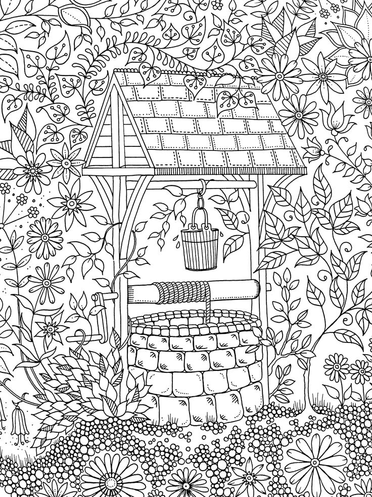 Garden well coloring page | ZENTANGLE-COLORIAGE ...