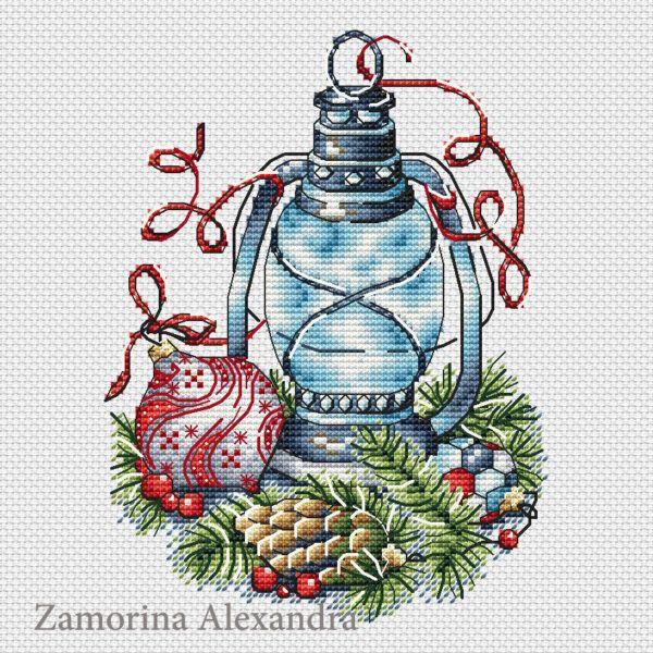 """Cross stitch design """"Lantern with a red ball"""" #sa_stitch #sa_pattern #pattern"""