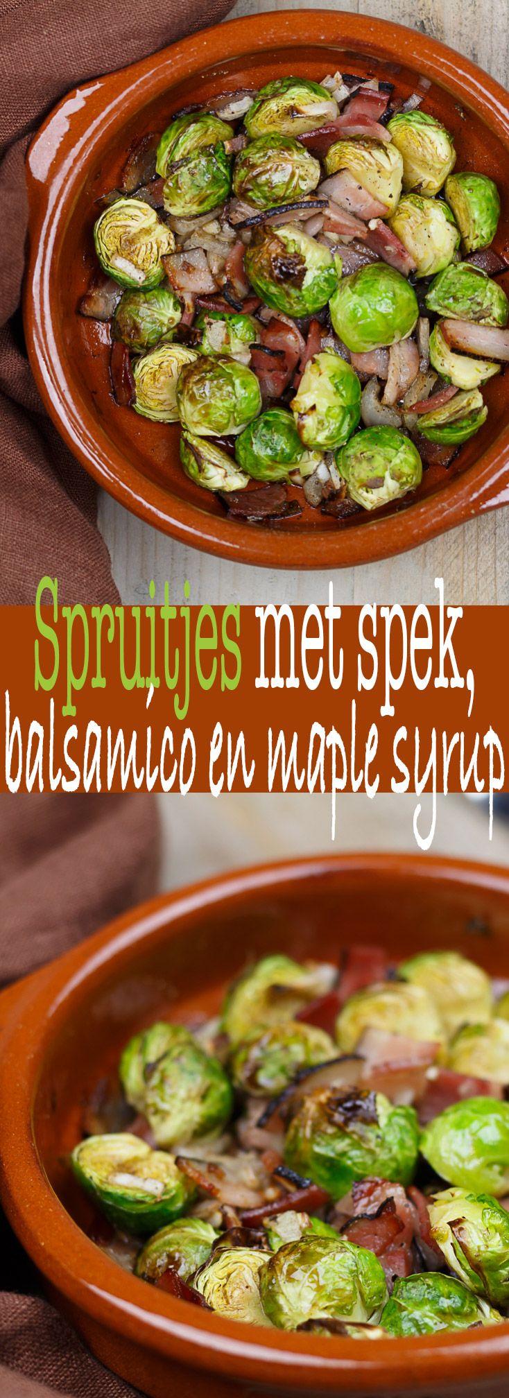 Spruitjes met spek, balsamico en maple syup #recept #recipe #oven