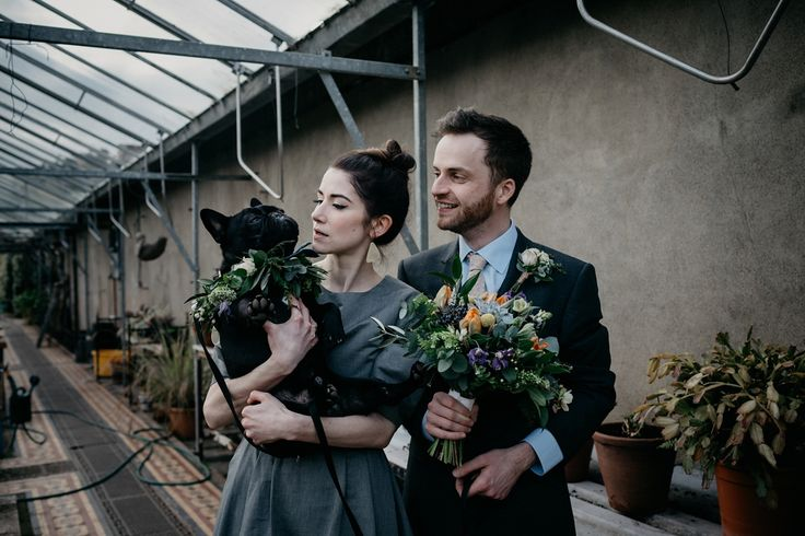 A Two-Piece Grey Denim Dress for a Modern and Dog Friendly Wedding in Scotland. Image by Caro Weiss