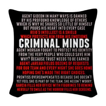 Criminal Minds Team Woven Throw Pillow. Agent Hotch describes all of the characters from Gideon to Reid to Garcia. I love this  speech on #criminalminds