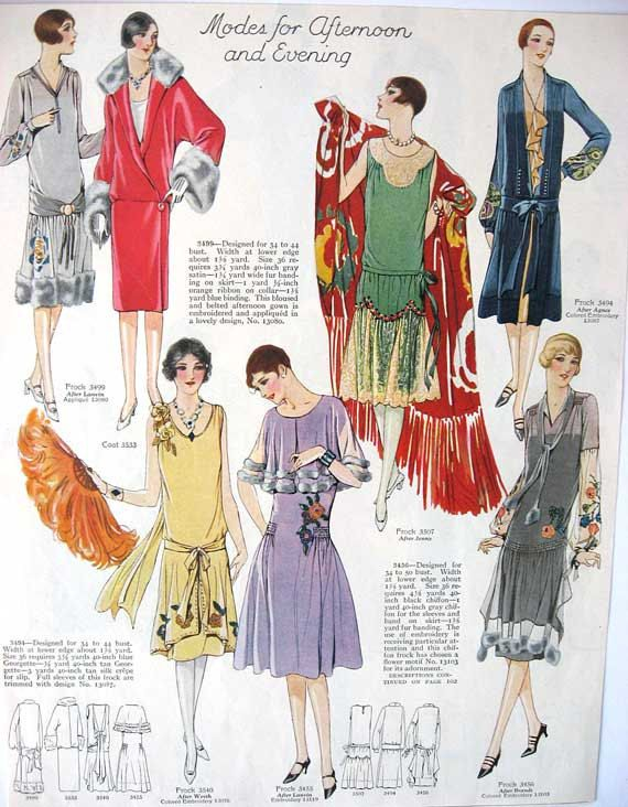 Vintage 1920 39 S Womens Fashions Illustration Print For Framing Scrapbooking Day Dresses