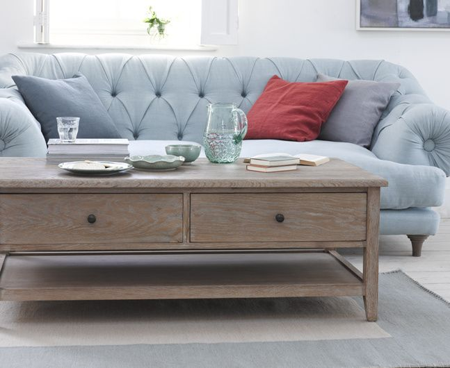 The Sable is a classic coffee table made special. It's made from gorgeous weathered oak and has two handy deep drawers, perfect for chucking things in.